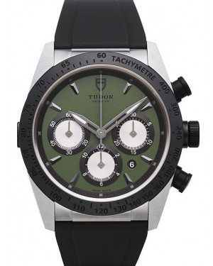 AAA Replica Tudor Fastrider Chronograph Green Dial Rubber Strap Mens Watch 42010N-2