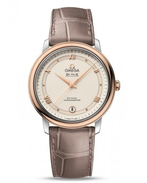 AAA Replica Omega De Ville Prestige Co-Axial 36.8 mm Steel and Red Gold White Dial Watch 424.23.37.20.09.001