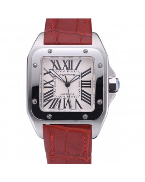 Swiss Cartier Santos White Dial Stainless Steel Case Red Leather Bracelet 622551