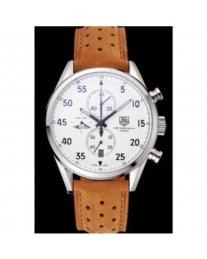 Tag Heuer Carrera SpaceX-7 White Dial Silver Stainless Steel Case Brown Suede Strap