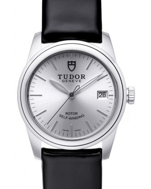 AAA Replica Tudor Glamour Date Silver Dial Leather Strap Ladies Watch 55000-1