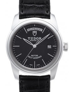AAA Replica Tudor Glamour Date Day Black Dial Folding Clasp Mens Watch 56000-3