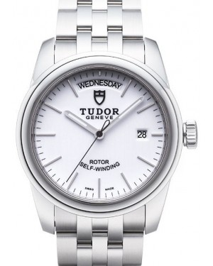 AAA Replica Tudor Glamour Date Day White Dial Steel Strap Mens Watch 56000-4