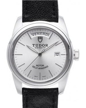 AAA Replica Tudor Glamour Date Day Silver Dial Leather Strap Mens Watch 56000-5