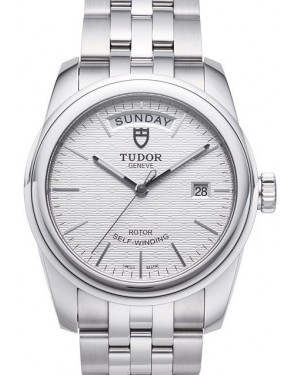 AAA Replica Tudor Glamour Date Day Silver Dial Steel Strap Mens Watch 56000-6