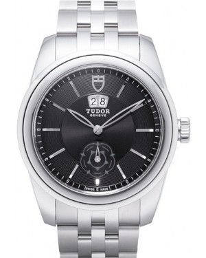 AAA Replica Tudor Glamour Double Date Black Dial Folding Clasp Mens Watch 57000-2