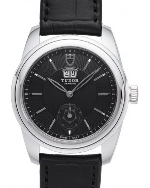 AAA Replica Tudor Glamour Double Date Black Dial Folding Clasp Mens Watch 57000-1