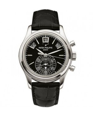 AAA Replica Patek Philippe Annual Calendar Chronograph Platinum Black Watch 5960P-016