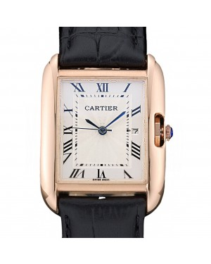 Cartier Tank Anglaise 30mm White Dial Gold Case Black Leather Bracelet
