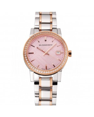 Burberry The City Pink Dial Rose Gold Diamond Bezel Stainless Steel Case Two Tone Bracelet