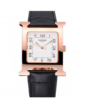 Hermes Heure H White Dial Gold Case Black Leather Strap