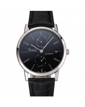 Piaget Altiplano Date Black Dial Stainless Steel Case Black Leather Strap