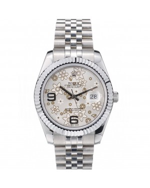 Rolex Swiss DateJust Stainless Steel Ribbed Bezel Flower Silver Dial 42001