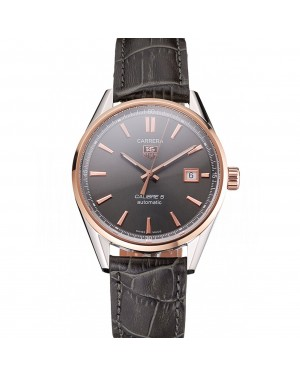 Swiss Tag Heuer Carrera Calibre 5 Gray Dial Rose Gold Case Black Leather Strap