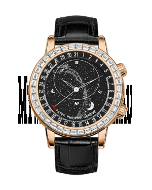 AAA Replica Patek Philippe Celestial Rose Gold Black Watch 6104R-001