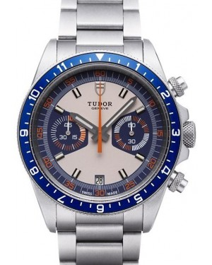 AAA Replica Tudor Heritage Chrono Blue Grey Dial Steel Strap Mens Watch 70330B-95740