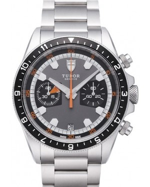 AAA Replica Tudor Heritage Chrono Grey Dial Steel Strap Mens Watch 70330N-2