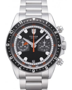 AAA Replica Tudor Heritage Black Dial Steel Strap Chrono Mens Watch 70330N-1