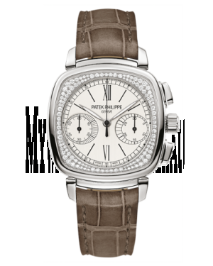 AAA Replica Patek Philippe Chronograph White Gold Silver Watch 7071G-001