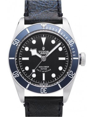 AAA Replica Tudor Heritage Black Bay Black Dial Leather Strap Mens Watch 79220B-1