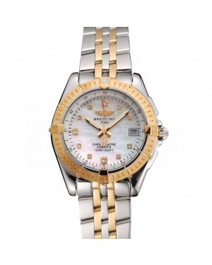 Breitling Colt Lady Pearl Dial Diamond Hour Marks Gold Bezel Stainless Steel Case Two Tone Bracelet