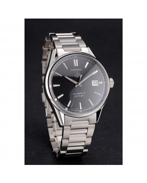 Swiss Tag Heuer Carrera Calibre 5 Black Dial Stainless Steel Case And Bracelet