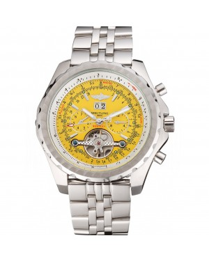 Breitling Bentley Mulliner Tourbillon Yellow Dial Stainless Steel Case And Bracelet 622734