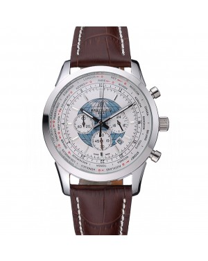 Breitling Transocean Chronograph Unitime White Dial Stainless Steel Case Brown Leather Bracelet 622244