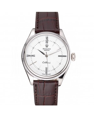 Rolex Cellini White Dial Stainless Steel Case Brown Leather Strap 622839