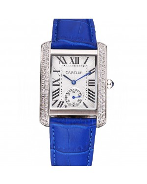 Cartier Tank MC Stainless Steel Diamond Case White Dial Blue Leather Strap 622172