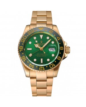 Swiss Rolex GMT Master II Green Dial And Bezel Gold Case And Bracelet 1453750