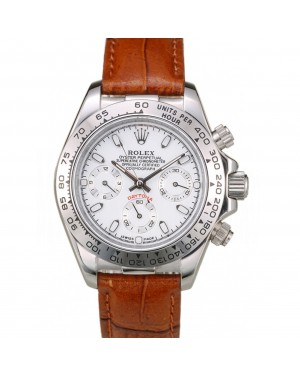 Rolex Daytona Lady Stainless Steel Case White Dial Brown Leather Strap Tachymeter
