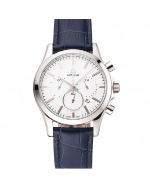 Omega Chronograph White Dial Stainless Steel Case Blue Leather Strap