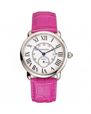 Cartier Ronde Louis Cartier White Dial Stainless Steel Case Fuchsia Leather Strap