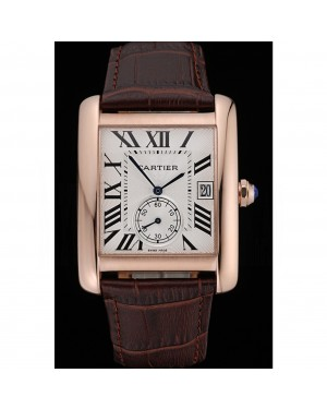 Cartier Tank MC White Dial Gold Case Brown Leather Strap 622578