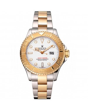 Rolex Yacht-Master White Dial Gold Bezel Stainless Steel Case Two Tone Bracelet