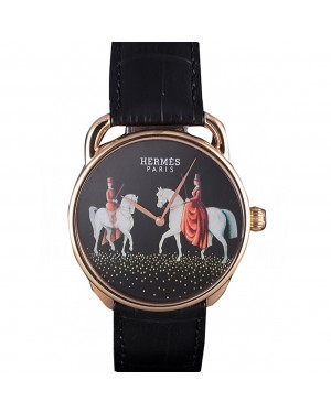 Hermes Classic Croco Leather Strap Black Dial 801397