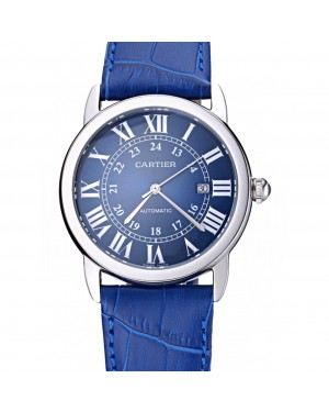 Swiss Cartier Ronde Solo Stainless Steel Case Blue Dial Roman Numerals 622193