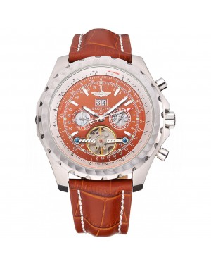 Breitling Bentley Mulliner Tourbillon Brown Dial Stainless Steel Case Brown Leather Strap 622727