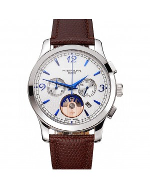 Patek Philippe Chronograph White Guilloche Dial Blue Hands Stainless Steel Case Brown Leather Strap