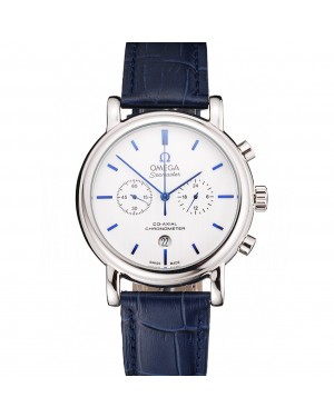 Omega Seamaster Vintage Chronograph White Dial Blue Hour Marks Stainless Steel Case Blue Leather Strap