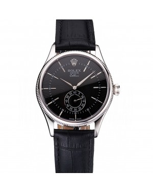 Swiss Rolex Cellini Black Dial Stainless Steel Case Black Leather Strap