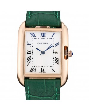 Cartier Tank Anglaise 30mm White Dial Gold Case Green Leather Bracelet
