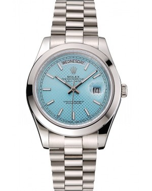 Swiss Rolex Day Date 40 Platinum Ice Blue Dial Stainless Steel Case And Bracelet