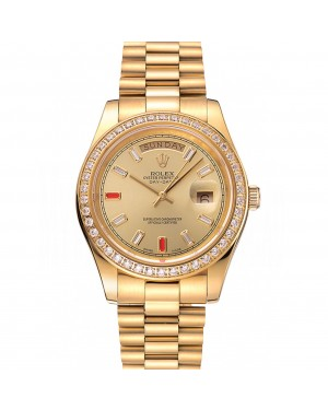 Swiss Rolex Day-Date Diamonds And Rubies Champagne Dial Gold Bracelet 1454100