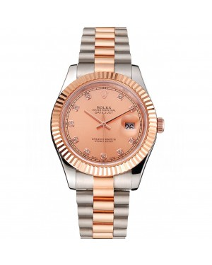 Swiss Rolex Datejust Rose Gold Dial And Bezel Stainless Steel Case Two Tone Bracelet