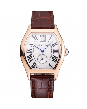 Cartier Tortue Large Date White Dial Gold Case Brown Leather Strap