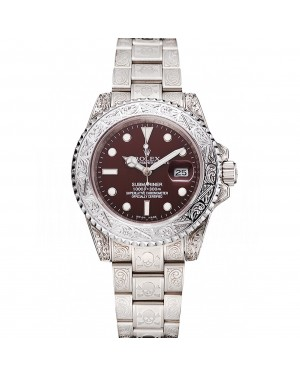 Swiss Rolex Submariner Skull Limited Edition Brown Dial White Case And Bracelet 1454092