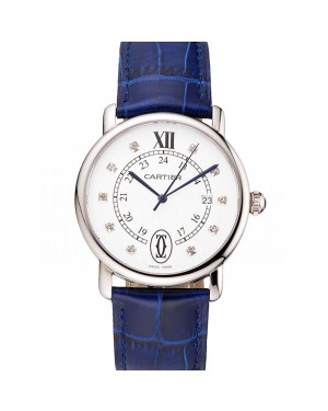 Cartier Ronde Solo White Dial Diamond Hour Marks Stainless Steel Case Blue Leather Strap