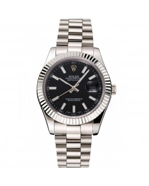 Swiss Rolex Datejust Black Dial Stainless Steel Case And Bracelet